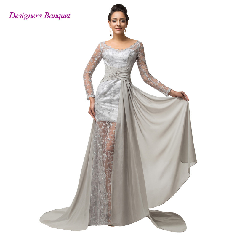 Get Quotations · Designers Women Real Samples Evening Dress Long Gray Lace  Prom Dresses Long Sleeve Banquet Formal Gown 17b2b01441d7
