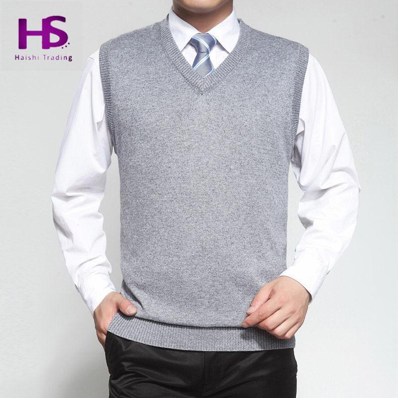 Осень зима кашемир жилет свитер мужчины без рукавов свитера сплошной цвет с v-образным вырезом шерсть пуловер мужчины джерси хомбре