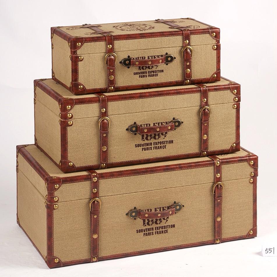 Wholesale Retro Decorative Wooden Storage Box Vintage Suitcase