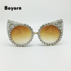 60073b738cf3a8 New 2016 Women Luxury Brand Jewelry Decoration Cat Eyes Sunglasses Vintage  Shades Eyewear Rhinestone Sunglasses