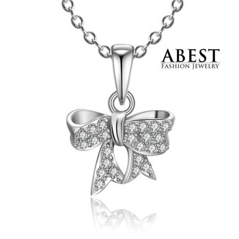 Hot Sale Cute Bowknot CZ Pendant Sterling 925 Silver Plated 18K White Gold Light Weight Wax Setting Pendant Necklace Jewelry