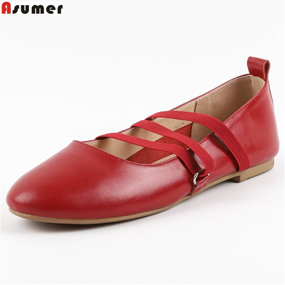 fashion women shoes casual round autumn Asumer toe spring leather single flats genuine shoes 1Wc0d8xqwx