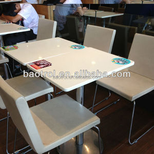 Fast Food Solid Surface Rectangle Stone Marble Top Table