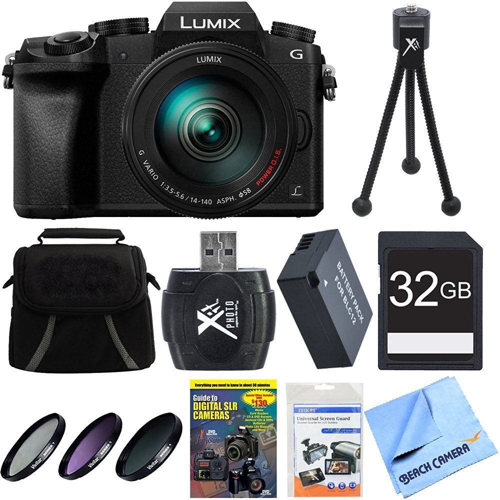 Panasonic LUMIX G7 4K DSLM Camera Bundle includes Camera, 14-140mm Lens, 58mm Filter Kit, Gadget Bag, Training DVD, 32GB SD Card & Reader, Battery, Mini Tripod, Screen Protectors & Microfiber Cloth