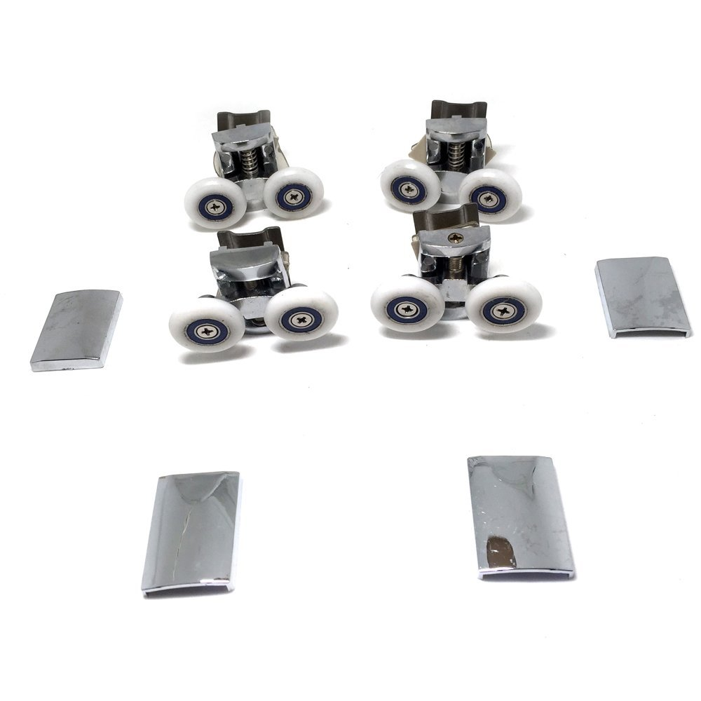 Replacement Shower Door Fixing Wheels in Chrome - 2x Top & 2x Bottom - Fits Glass 6-8mm …