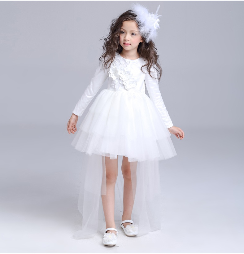 2017 beautiful white long sleeve evening dress dimensional flowers dresses children girls stylish frocks
