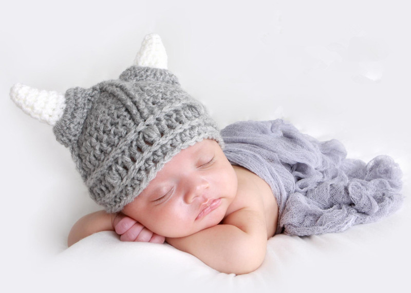 29e2981af00 Get Quotations · 1pc Retail Grey Horn Baby Photo Props Crochet Baby Hats  Animal Design Baby Winter Hats Crochet
