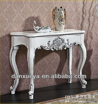 Danxueya French Style Baroque Antique White Console Table Oak Solid Wood