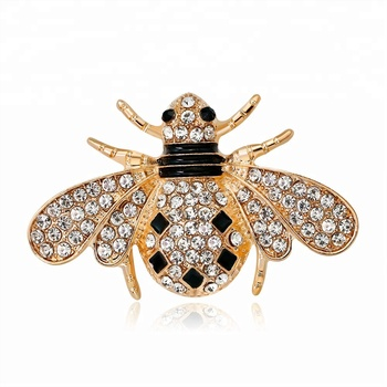 4b08745f377 Fashion Custom Women Dress Collar Bee Badge Brooches Lovely Crystal Small  Insect Brooch Pin