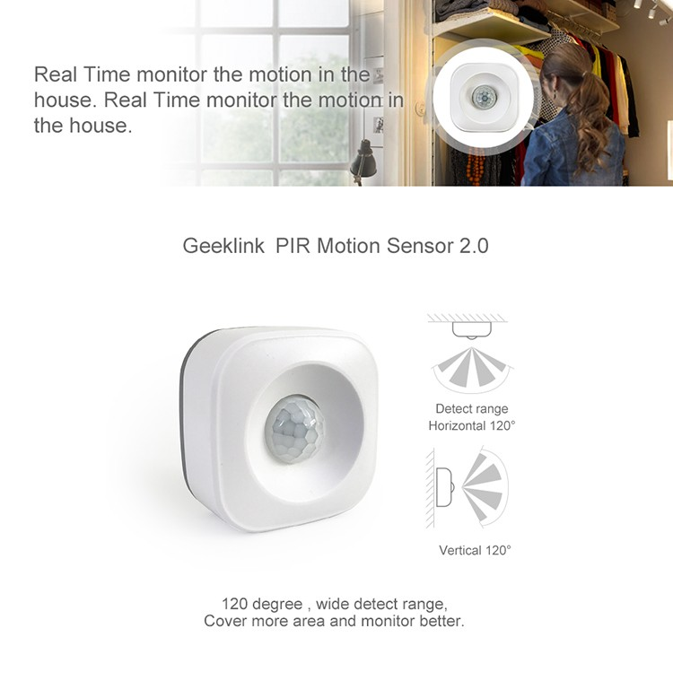 Geeklink Real-time feedback Home security wifi movement feedback function infrared temperature sensor motion alarm