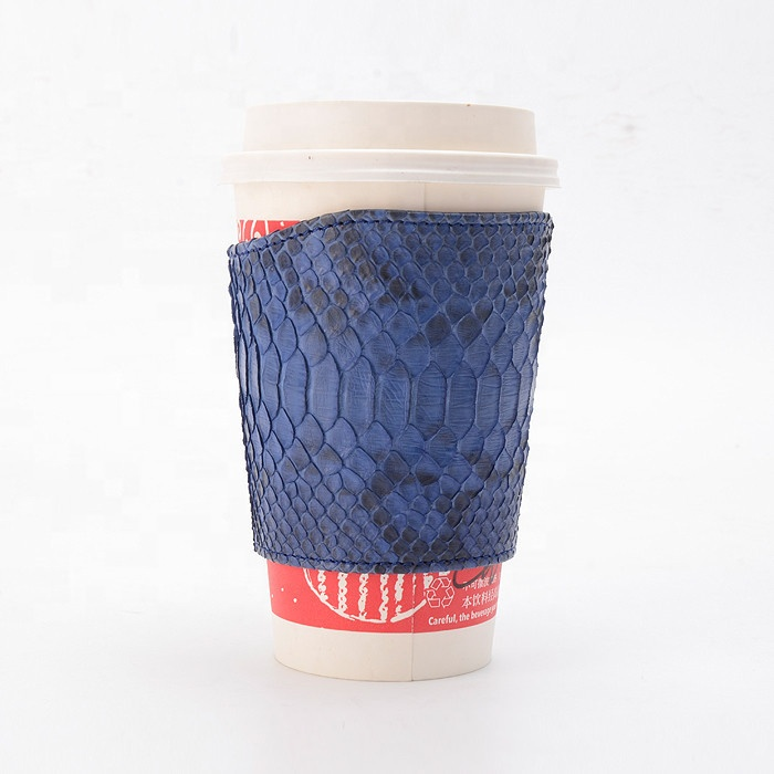 Customized luxury paper cup holder genuine snake leather coffee cup sleeves