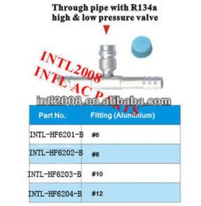 auto air condition fitting ac pipe fitting through pipe hose with R134a high and low pressure Valve