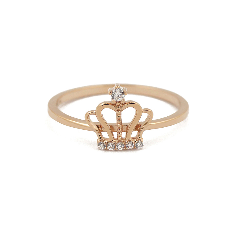 ZS0020R Queen CZ Gold Ring 18K Gold Jewelry Trendy Designs for Women