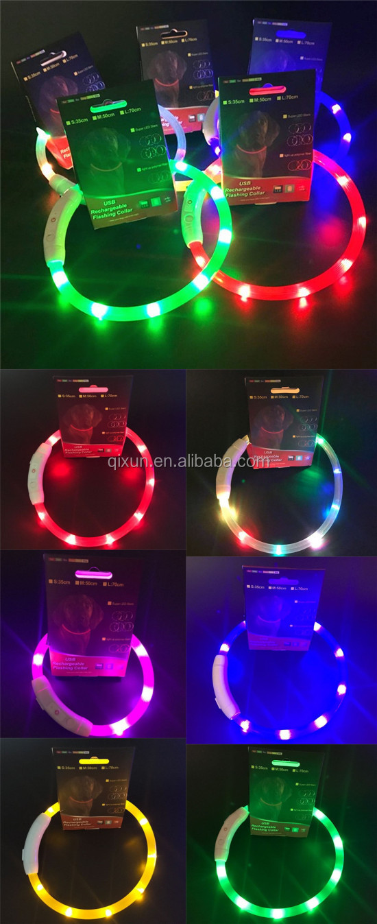 Lovely LED Lighting USB Rechargeable Waterproof Safety glow led pet dog collars