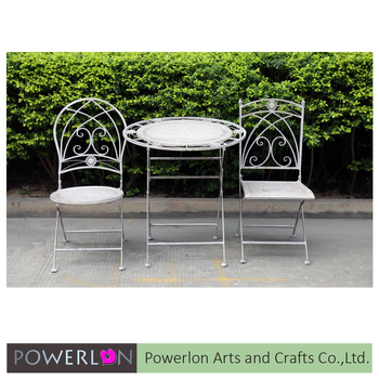 Outdoor Furniture Wrought Iron Garden Line Patio Set Vintage Bistro Circle Product