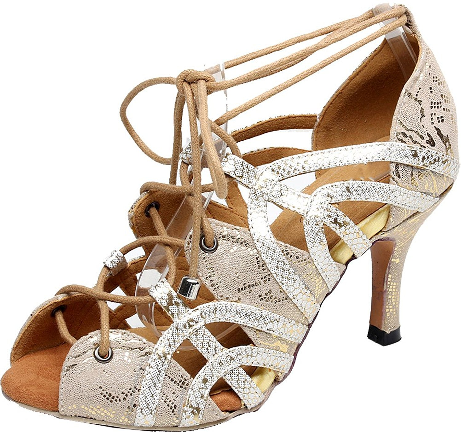 Salabobo Ladies 5017 Sexy Peep Toe Lace Up Dance Shoes Latin Tango Cha-Cha Swing Ballroom Party Wedding Sole 3IN Mid Heel PU Shoes Silver US 6.5 Outdoor