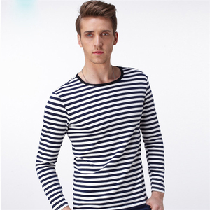 Promotional White And Black T Shirts Men Striped Spring Seaman Clothing Fashion Man Garments Wholesale Market