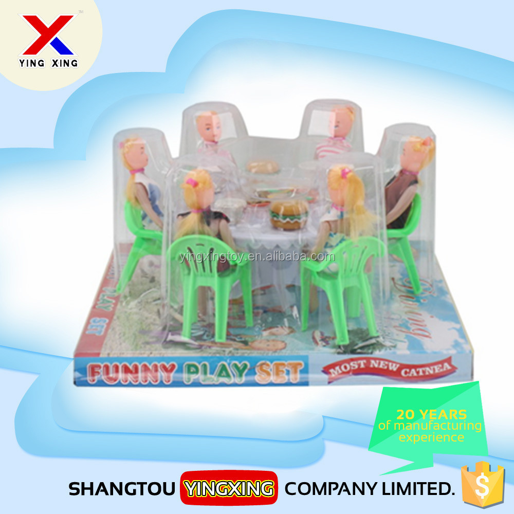 6 dolls dining table toy cheap price mini kids kitchen set toy