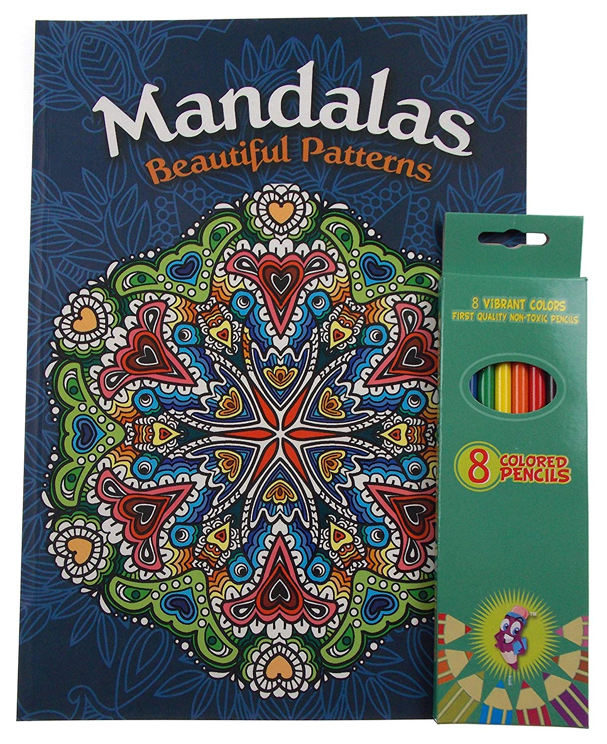 Mandalas Beautiful Patterns Adult and Teen Coloring Book Bundled With Vibrant Colored Pencils