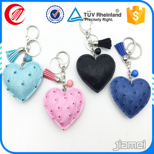 custom made embossed human heart shape leather keychains