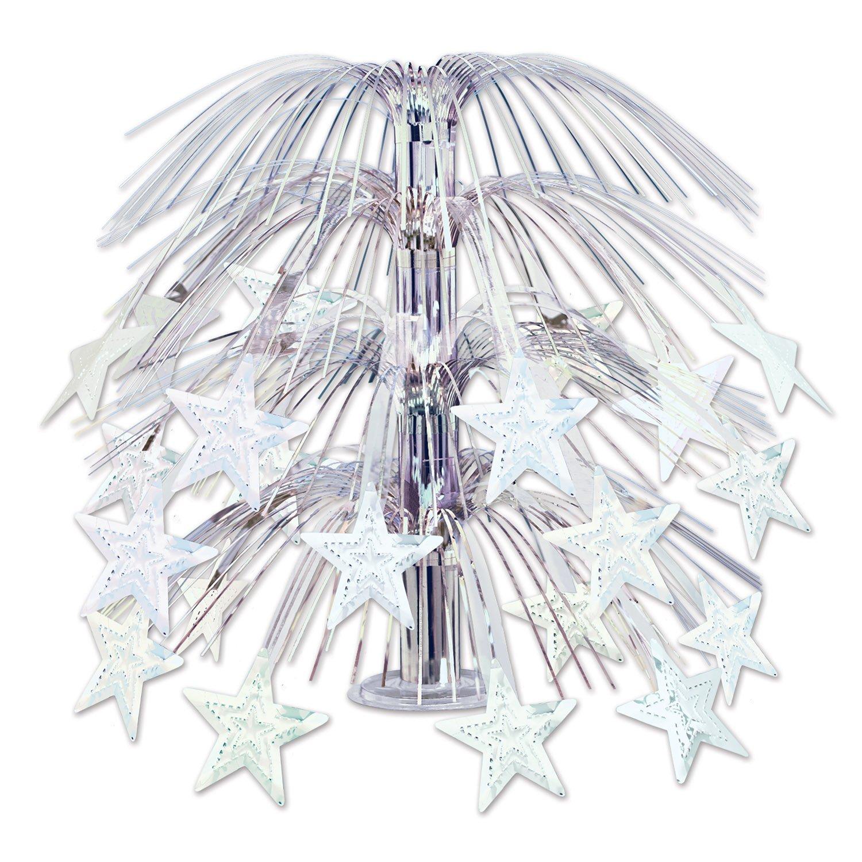 """Beistle 50553-S 3 Pieces Star Cascade Centerpieces, 18"""", Silver"""