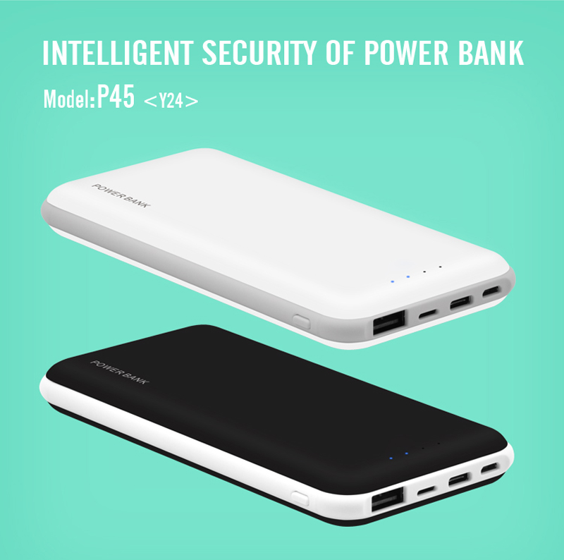 Slim 10000mah Power Bank for Mobiles Devices LCD Portable Charger 3 Input and 1 Output Universal Power Bank