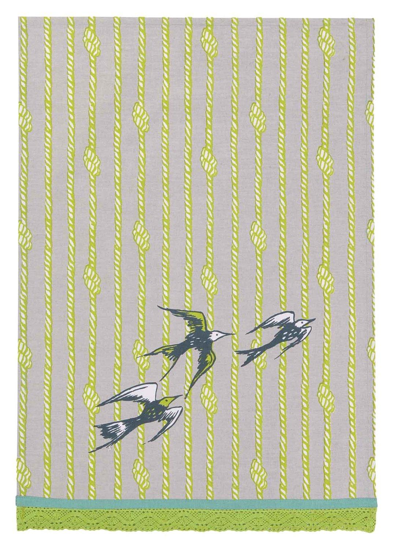 Peking Handicraft Sarah Watts Kitchen Linen Birds with Ropes Dish Cloth, Grey/Green