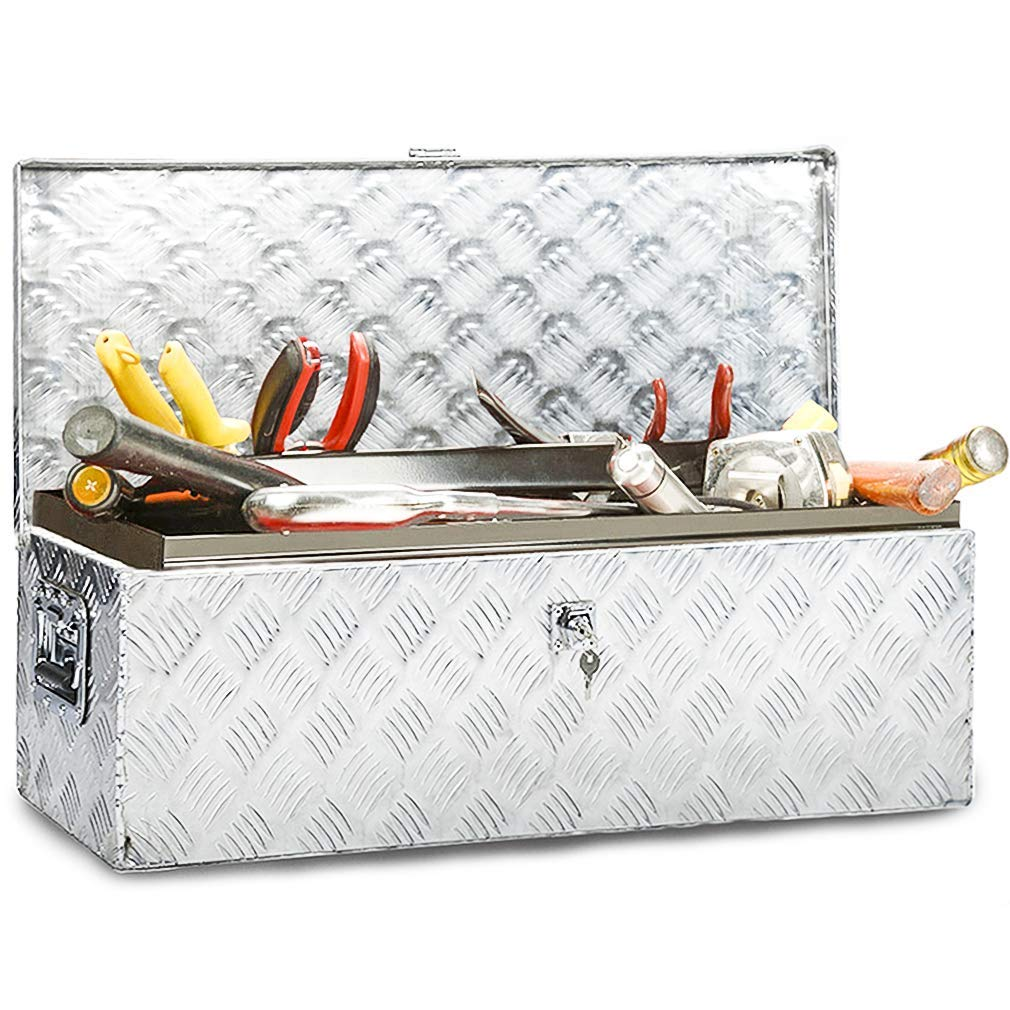 "Truck Tool Box Aluminum Tool Box camper tool box w/handle and Lock for Pickup Truck/Trailer 30"" silver"