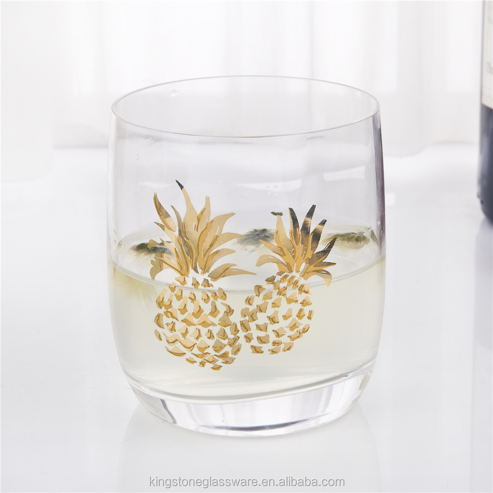 India Market pineapple paper transfer glass water bottle glass lemon set with 235G for home