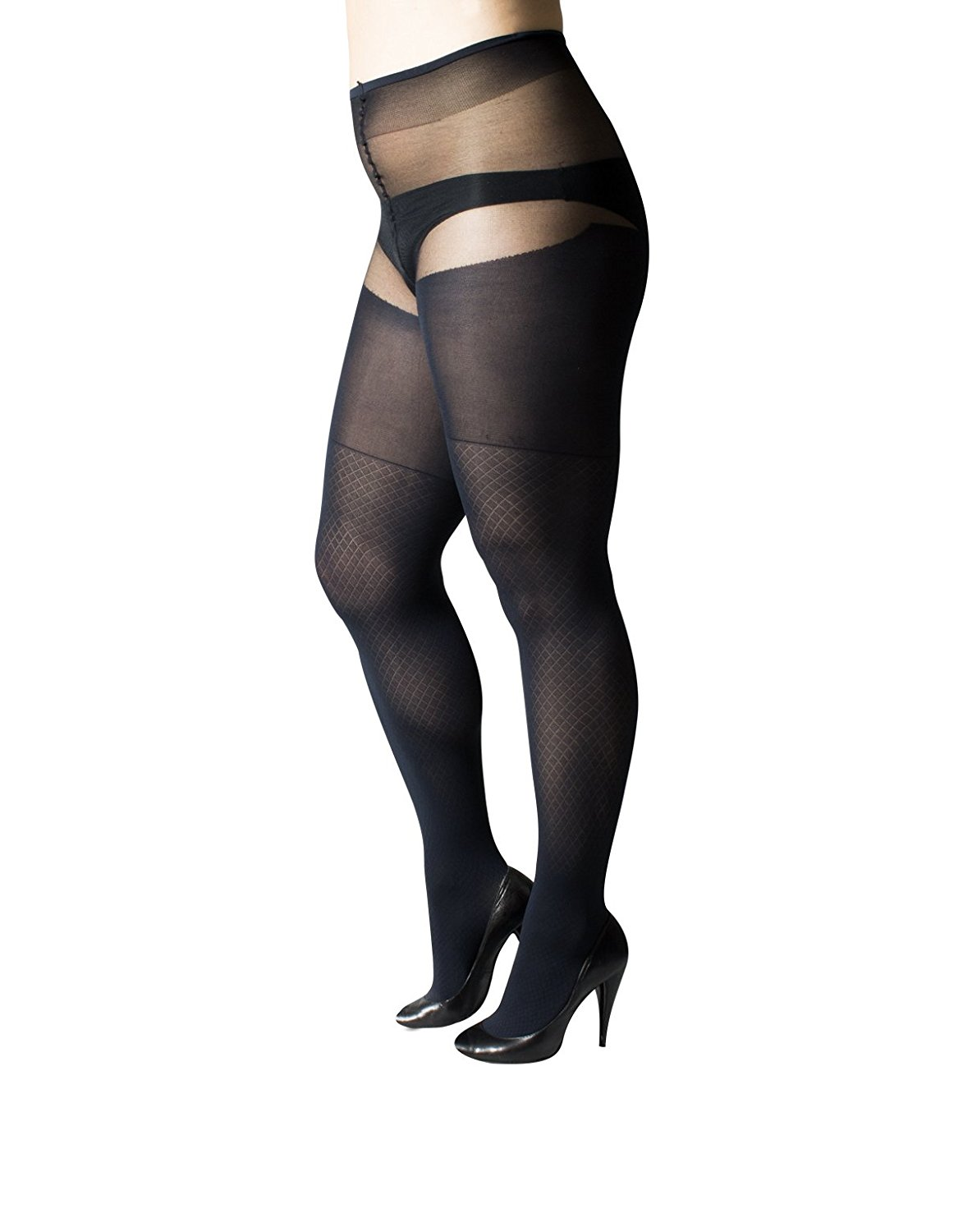 409855f804a4c Get Quotations · PLUS SIZE PANTYHOSE | SEXY CURVY ARGYLE TIGHTS | BLACK,  BLUE | 50 DEN