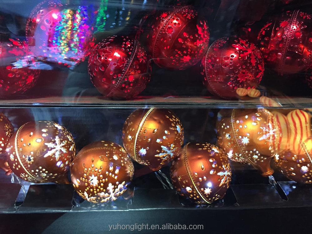10L Dia 6cm Gold/Silver/Red/Copper Plastic Ball Light Chain Battery Box Christmas Light