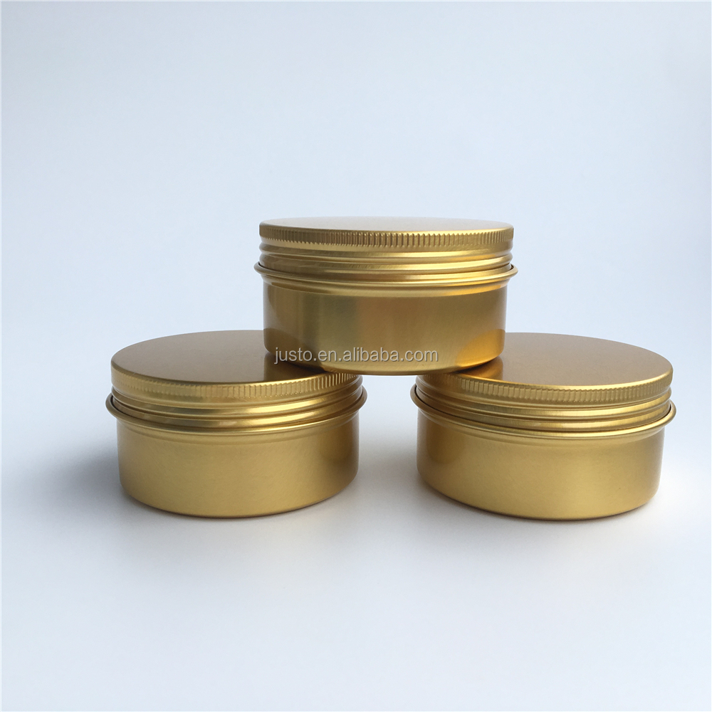 80ml Gold Round Aluminum Jars Candle Tin Can Aluminum Cosmetic Tin Box Container with Screw Cap