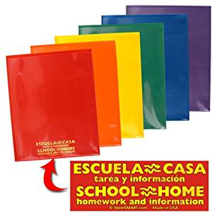 StoreSMART - Plastic School / Home Archival Folders - Spanish / English - Primary Colors 72 Pack - 12 Each of Six Bright Colors (SH900PCP72SPAN)