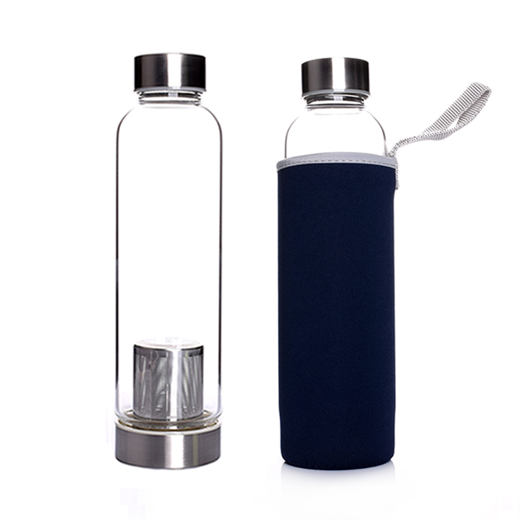 550ml Glass Water Bottle Leak-Proof Drink Water Bottle Travel Mug Cup
