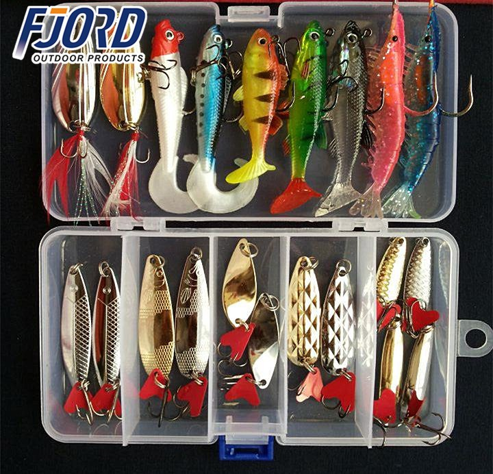 FJORD Hot! Fishing Lures Soft Fish Shrimp Spoon Metal VIB Lure Soft Bait Sequins Kit Mixed Fishing Lures Suits