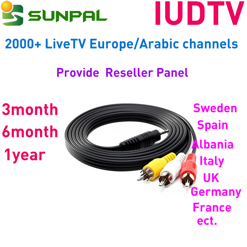 2018 Hot selling India IPTV 1Y subscription IUDTV Swedish German Turkish channels Package for Android TV Box
