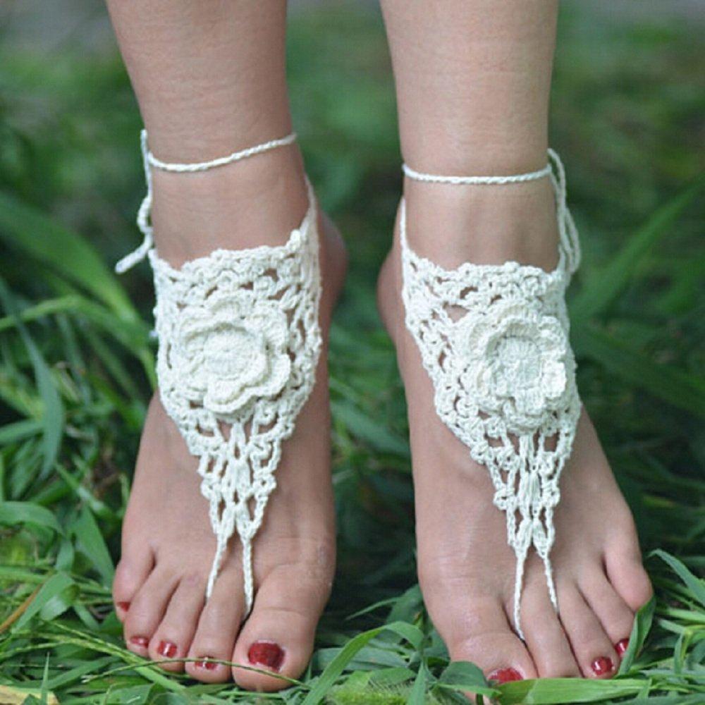 Ivory Beach Wedding Sandals,Wedding Accessory,Sexy Beach Sandals, Crochet Barefoot Sandals, Barefoot Sandals , Crochet Anklet, Sexy Lace Sandals,Wedding Footwear, Bridesmaid Sandals (Ivory-01)