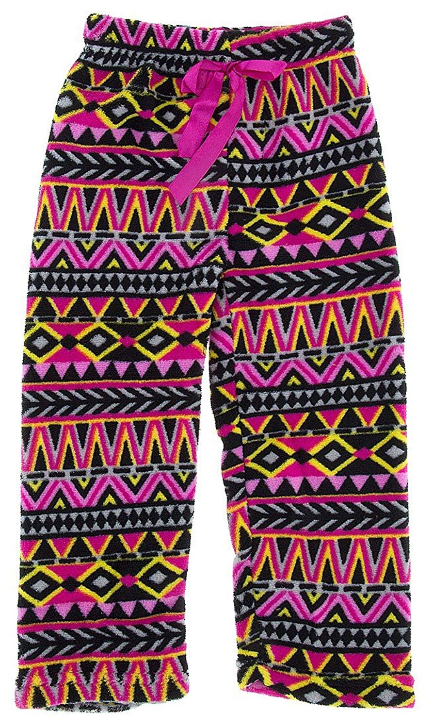 Sweet & Sassy Little Girls' Pink Tribal Print Fleece Pajama Pants