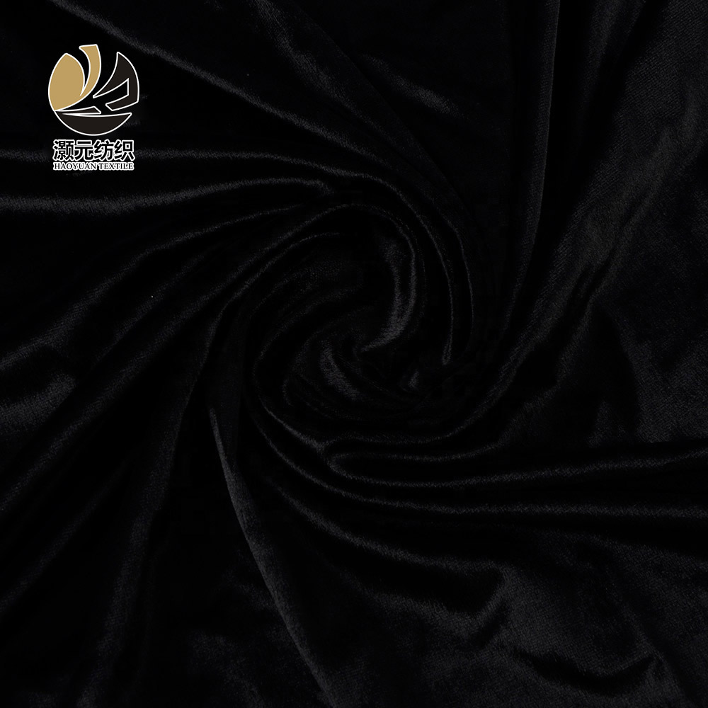 Venta al por mayor de alta calidad de color personalizado suave de poliéster negro Corea tela de terciopelo para vestidos