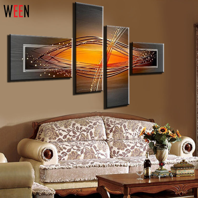 100% Handpainted 4 Piece Modern Home Decorative Pinturas Oleo Oil Painting On Canvas Wall Art Picture For Living Room