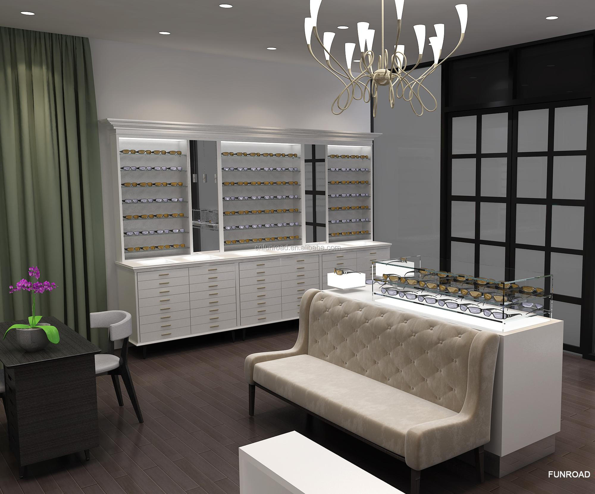 optical store interior design sunglasses showcase eyewear counter