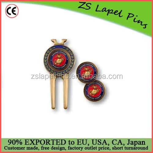 Custom quality free artwork design Marine Corps Golf Divot Tool and Ball Marker Set Challenge Coin