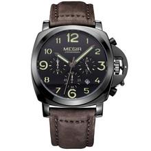 Megir Chronograph Casual Assista Homens de Luxo Da Marca Quartz Militar Relógio Do Esporte Dos Homens de Couro Genuíno relógio de Pulso Relogios Masculino