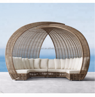 2018 High quality waterproof outdoor antique round rattan daybed
