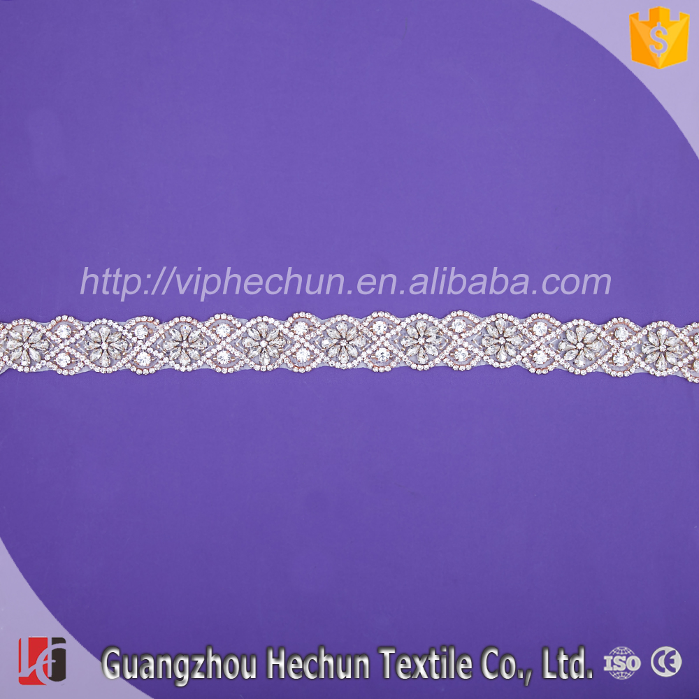 HC-8583 Hechun wholesale Fashion glass on rhinstone beaded trim for garment