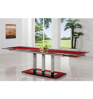 Modern Metalstainless Steel Extension Glass Dining Table - Glass dining table for 10