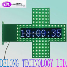 CE RoHS led cross pharmacy with double sides 80X80cm flashing green led and 16X64pixel remote control temperature led sign