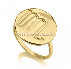 Fashion 14K Gold Plated Round Disc Shape Circle One Initial Ring For Female