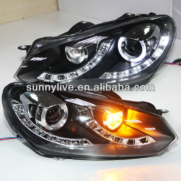 LED Angel Eyes Golf 6 LED Headlight with Bi Xenon Projector Lens 2009-2012 Year LDV3