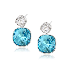 92610 xuping fashion jewelry charm beautiful designed square shaped stud earring made with crystals from Swarovski